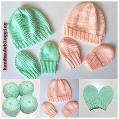 Автор @love_knitt комплекты для новорождённых (0-3 мес.) из нежной детской пряжы, цвет мята и персик.
