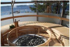 Outdoor Glass Sauna By Finnish Lake.