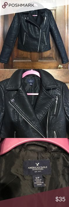 American Eagle leather jacket American Eagle • (faux) leather jacket • work once • size small • perfect condition • all zippers work perfectly • no creases or folds in leather American Eagle Outfitters Jackets & Coats