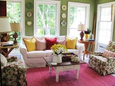 Sunrooms With Green Wall Paint Color Ideas And Pink Carpets