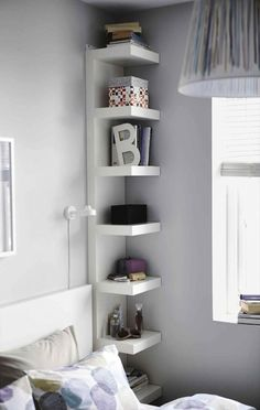 Tall Minimalist Corner Shelves