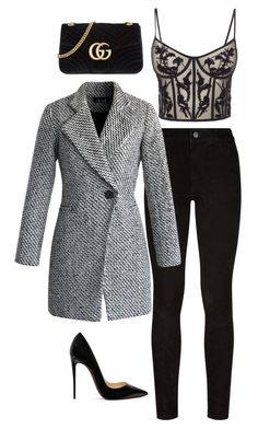 """""""Classy black with some grey"""" by evelyntaylor193 ❤ liked on Polyvore featuring Paige Denim, Christian Louboutin, Gucci, Alexander McQueen and Chicwish"""