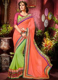 Astonishing Peach And Green Faux Georgette Saree, Product Code :7560, shop now http://www.sareesaga.com/astonishing-peach-and-green-faux-georgette-saree-7560  Email :support@sareesaga.com What's App or Call : +91-9825192886