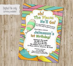 Oh the Places You Will Go Invitation Oh by SweetBeeDesignShoppe