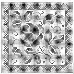 Filet Crochet Charts, Crochet Motifs, Crochet Cross, Crochet Diagram, Crochet Home, Thread Crochet, Crochet Stitches, Crochet Patterns, Biscornu Cross Stitch