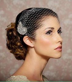 50$ Bridal Veil, Bandeau Veil with Crystal Comb, Rhinestone Veil, Wedding Blusher Veil - READY TO SHIP - Veil and Fascinator Comb