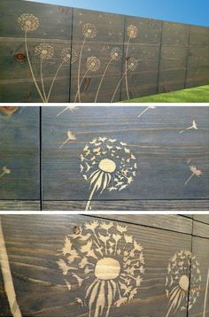 A solid wooden fence with patterns of dandelions