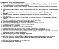 20 Responsibilities and Duties Payroll Specialist - http://resumesdesign.com/20-responsibilities-and-duties-payroll-specialist/