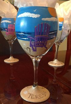 Items similar to Adirondack Chair Beach Wine Glass on Etsy Diy Wine Glasses, Hand Painted Wine Glasses, Painted Wine Bottles, Glass Bottles, Wine Glass Candle Holder, Wine Glass Crafts, Wine Bottle Art, Pots, Bottle Painting