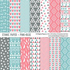 Pink Blue - Aztec Digital Paper by pixeledpaper Digital Paper Free, Free Digital Scrapbooking, Digital Papers, Printable Scrapbook Paper, Printable Paper, Sims 4, Nursery Organization, Organization Ideas, Owl Clip Art