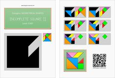 Tangram worksheet 238 : Incomplete square 11 - This worksheet is available for free download at http://www.tangram-channel.com