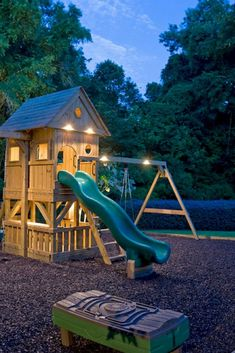 the yard well lit is one of the best things you can do to keep your chil., Keeping the yard well lit is one of the best things you can do to keep your chil., Keeping the yard well lit is one of the best things you can do to keep your chil. Playground Set, Playground Design, Kids Backyard Playground, Children Playground, Build A Playhouse, Playhouse Outdoor, Kids Playhouse With Slide, Kids Wooden Playhouse, Kids Slide