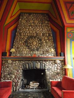 Fireplace in Naniboujou Lodge, on the shores of Lake Superior