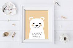 Yellow Bear Nursery Art  Nursery Art  Bear Art  Animal
