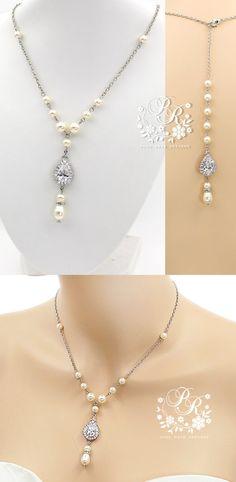 Wedding Necklace Swarovski Pearl Teardrop by PureRainDesigns