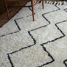 Moroccan-style wool rug from West Elm. I like this one, although I wish there were more charcoal/less cream.