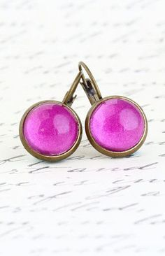 Brass Leverback Earrings Magenta Pink Earrings