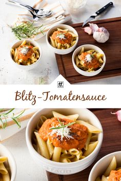 Blitz-Tomatensauce - Die Tomatensauce ist blitzschnell zubereitet und kann parallel gemixt werden während die Lieblingspasta kocht. #pasta #italianfood #tomatensauce #sauce #rezept #recipe #mixer #blender #kirschtomaten #thymian #rosmarin Blitz, Curry, Pasta, Ethnic Recipes, Food, Lasagna, Twin, Meat, Easy Meals