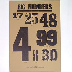 A TWO PIPE PROBLEM LETTERPRESS (ア ツーパイプ プロブレム ポスター) BIG NUMBERS POSTER