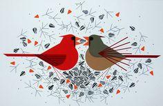 Charley Harper - Serigraphs - Cardinal Courtship signed & numbered