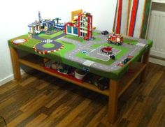 Ikea LACK Coffee Table + LILLABO Play Mat = Fun Train/Car Table