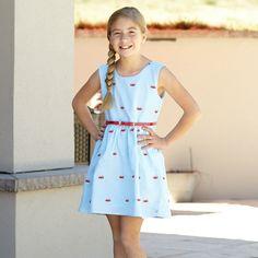 Girls Aqua Chambray Red Crab Sleeveless Dress