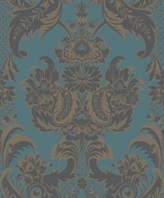 Wyndham (94/3017) - Cole & Son Wallpapers - A heraldic influenced damask with shield and feather motifs decorated with flowers. Shown here in the metallic gold, shadowed in grey on a deep matt teal green background. Please request sample for colour match. Paste the wall.