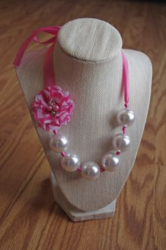 Pearl and ribbon beaded necklace, pink by PearlsPigtails, $14.00