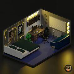 Computer Gaming Room, Gaming Desk Setup, Gaming Rooms, Gamer Bedroom, Bedroom Setup, Small Game Rooms, Video Game Rooms, Game Room Design, Contemporary Decor