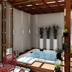 amazing home designs Hot Tub Backyard, Small Backyard Pools, Swimming Pools Backyard, Backyard Patio, Lap Pools, Pool Decks, Pool Landscaping, Small Pools, Jacuzzi Room