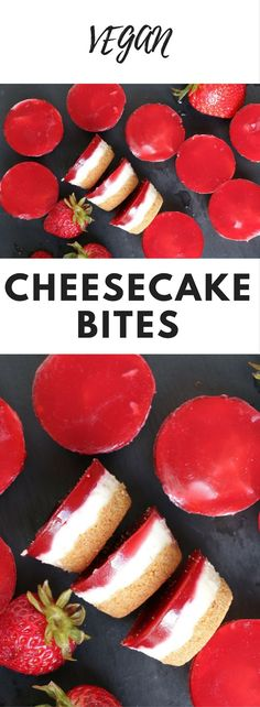 Vegan Cheesecake Bites - Looking for a sweet way to express your love? Nothing says I love you like strawberry cheesecake especially if it's vegan! These delicious cheesecake bites are the perfect treat for Valentine's Day and for anyone who, like me, can't live without their daily dose of love and dessert!