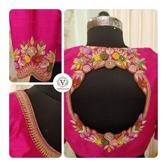Stunning pink color designer blouse with creeper and floral designer blouse with hand embroidery work. Blouse with pot hole design. Floral is the most welcoming way to start the week. Wedding Saree Blouse Designs, Best Blouse Designs, Simple Blouse Designs, Saree Blouse Neck Designs, Stylish Blouse Design, Kurti Designs Party Wear, Hand Embroidery Dress, Embroidery Neck Designs, Hand Work Blouse Design