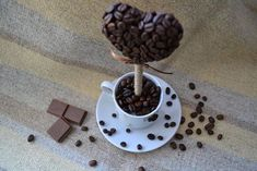 easy to make valentines day gift heart topiary coffee beans