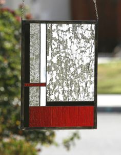 FIRE & ICE - Large Abstract Stained Glass Window Panel,  Red, Black, White, Clear Glass by gallerydelsol on Etsy https://www.etsy.com/listing/79871383/fire-ice-large-abstract-stained-glass