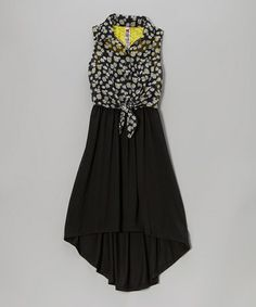 This Black Daisy Tie-Front Hi-Low Dress by Beautees is perfect! #zulilyfinds