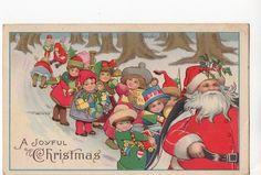 C822 Postcard Christmas Greeting Santa Claus 1922 CC   eBay