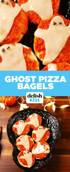Ghost Pizza Bagels are the scary-easy dinner your kids need. Get the recipe at Delish.com.