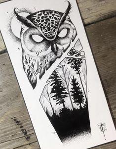 New Tattoo Designs, Owl Tattoo Design, Tattoo Sleeve Designs, Sleeve Tattoos, Owl Tattoo Drawings, Tattoo Sketches, Forearm Tattoos, Body Art Tattoos, Twins Tattoo