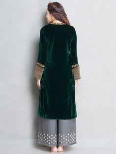 Buy Green Golden Sequin & Dabka Embellished Velvet Silk Kurta Online at Jaypore.com