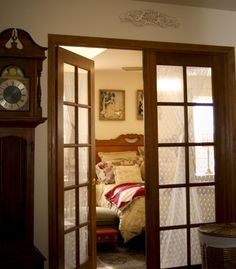Furniture:Bedroom Door Design That Looks Unique And Modern Country Bedroom Design With Reclaimed Wood Door Feat Tempered Glass Accents Modern Country Bedrooms, Country Bedroom Design, Bedroom Door Design, French Doors Bedroom, Bedroom Doors, Hinged Patio Doors, Cool House Designs, Modern Interior Design, Home Decor