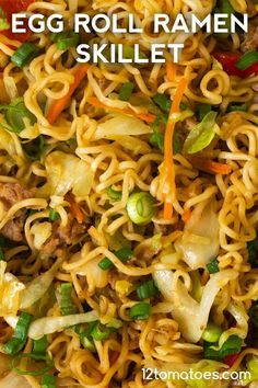 Egg Roll Ramen Skillet - Quick, easy, and the best of both worlds. Pork Recipes, Asian Recipes, Cooking Recipes, Ethnic Recipes, Chicken Recipes, Oriental Recipes, Cooking Pork, Wrap Recipes, Vegetarian