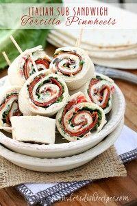 Italian Sub Sandwich Tortilla Pinwheels - no onions