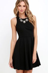 Profess your love for fashion with one key piece: the Chic Freely Black Backless Skater Dress! Sightly stretchy woven fabric falls from slender straps to a squared-off neckline, and a backless, princess-seamed bodice. From the gathered, fitted waist the tulle-lined skirt opens to a full silhouette with side seam pockets.