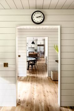 """""""Knotty oak flooring runs throughout much of the house, uninterrupted by doors."""" - home of Schoolhouse Electric owners Style At Home, Style Blog, Plank Walls, Paneled Walls, Wood Walls, Ship Lap Walls, Ranch Style, Home Fashion, My Dream Home"""