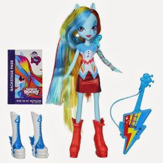 My Little Pony Equestria Girls Rainbow Rocks Doll & Stamp Set Rainbow Dash Doll Rainbow Dash, Rainbow Rocks, My Little Pony Dolls, Hasbro My Little Pony, Rock Star Outfit, Dad Crafts, Dash Dolls, Equestrian Girls, Little Poney