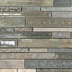 Shop 11 3/4 x11 Shangri-La Green Quartz Random Brick Polished Glass, Stone + Etched Deco Tile in Dark Emperador, Metallic Gold, Gold Deco at TileBar.com.