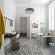 Une salle de bains design avec des carreaux de ciment