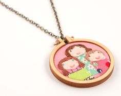 Custom portrait of 3 - necklace - made to order by dandelyne - embroidered and appliqued via Etsy