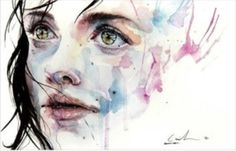 Beautiful watercolor face. I'm going to try this style!
