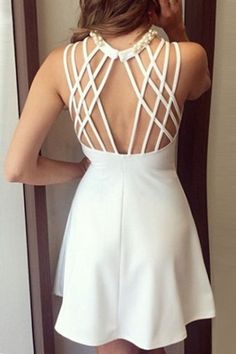 Pearled High Neck Strappy Back Skater Dress- Pearled High Ne. Pearled High Neck Strappy Back Skater Dress- Pearled High Ne.- Pearled High Neck Strappy Back Skater Dress- Pearle Pretty White Dresses, White Skater Dresses, Little White Dresses, Stunning Dresses, Cute Dresses, Dress Skirt, Dress Up, Diy Fashion Accessories, Chanel